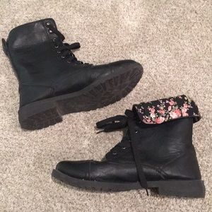 Hot Topic floral lined combat boots